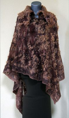 Light warm felted eco-friendly silk poncho eco fur woman lacy unique designer felt brown felt wearable art wearable wrap wool gift present