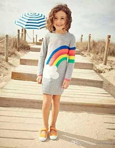 Best Kid Girl Knitting Rainbow Color Stripes Colorful Family Dress Alikes Girls Mother Crochet Gray Color Fall Winter Straight Dress Under $14.45 | Dhgate.Com