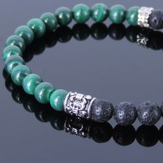 Handmade Gemstone Bracelet Malachite Lava Rock Sterling Silver Anchor MEN WOMEN #Handmade #HandmadeGemstoneSterlingSilverBracelet