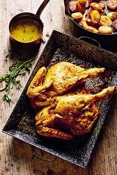 A spatchcocked chicken roasts much quicker and every part is evenly cooked. Food Dishes, Main Dishes, Rick Stein, Taste Of Home, Delicious Dinner Recipes, Chicken Wings, Roasts, French Toast, Cooking