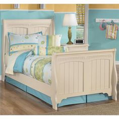 Shop Ashley Furniture Cottage Retreat Twin Sleigh Bed with great price, The Classy Home Furniture has the best selection of Kids Beds to choose from Cheap Bedroom Furniture, Furniture Outlet, Home Furniture, Furniture Design, Painted Furniture, Sleigh Bedroom Set, Affordable Furniture Stores, Big Girl Rooms