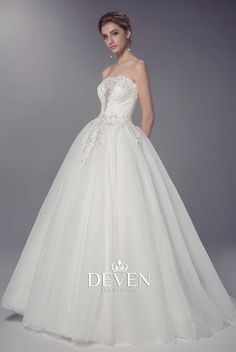 Strapless Sleeves Beaded Lace Bodice Ball Gown Wedding Dress