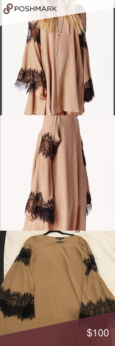 for love and lemons festival dress it is a camel color with black lace detail For Love and Lemons Dresses Long Sleeve