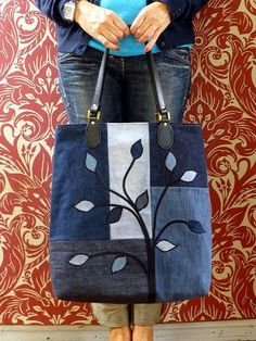 Jeans Tasche Upcycling Baum