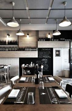 black, white, subway tile, wood, industrial pendant lights // La Cucineria