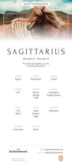 Sagittarius Zodiac Sign Correspondences - Sagittarius Personality, Sagittarius Symbol, Sagittarius Mythology and Sagittarius Meaning - Horoscope Quotes Sagittarius Personality, Sagittarius Quotes, Zodiac Signs Sagittarius, 12 Zodiac Signs, Astrology Zodiac, Astrology Signs, Sagittarius Tattoos, Learn Astrology, Sagittarius Women