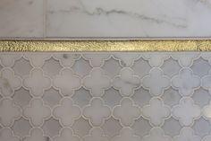 Master Bath - Artistic Designs for Living - bathrooms - marble, quatrefoil, tiles, floor, gold, trim,  Amazing marble quatrefoil tiles floor with gold trim