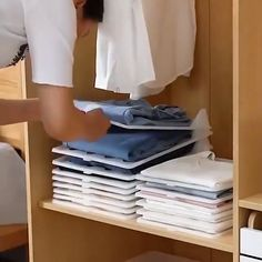 folding clothes Save space and keep clothes neat with our new Closet Organizers! Interlocking divider acts like a thin and flexible mini shelf allowing you to stack your clothes neatly Bedroom Closet Design, Closet Designs, Dorm Room Closet, Organizar Closets, Dresser Organization, Organization Ideas, Clothing Closet Organization, Underwear Organization, Clothing Racks