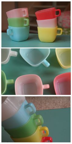 Opal mugs from the 60s! ❤ Please visit my Facebook page at: www.facebook.com/jolly.ollie.77