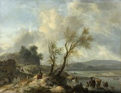 Wouwerman, Philips - Landscape with sandy road along a river, 1650-1668