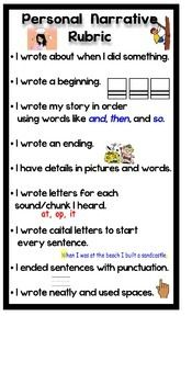 First Grade Common Core Personal Narrative Writing Rubric-aligned with Lucy Calkins