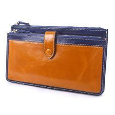 BIG SALE-Yafeige Women's Genuine Leather Clutch Wallet Purse Card Holder Zipper Money Clip(Brown)