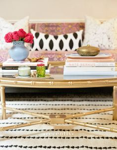Recently: gold spray paint, a bamboo table, and furbish pillows