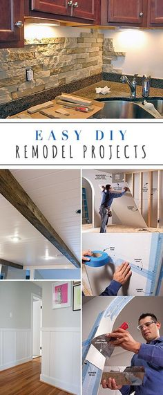 Easy DIY Remodel Projects • Ideas & Tutorials for projects like backsplash, drywall, floors, faux wood beam, sliding barn door etc....