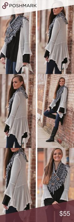 Waffle Knit Draped Cardigan This is a very cute white waffle knit cardigan. Extremely stylish and perfect for this time of the year! Sweaters Cardigans