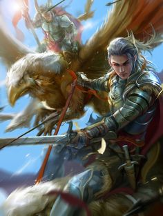 Elf-Griffin rider by derrickSong on DeviantArt