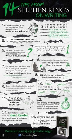Stephen King On Writing Infographic || I actually have his book on how to write I just need to get around to reading it: