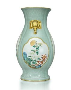 A magnificent and extremely rare carved and moulded celadon-ground famille rose lobed vase, Qianlong six-character seal mark in underglaze blue and of the period (1736-1795)