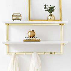 PB Teen Rowan Wall Shelf ($159) ❤ liked on Polyvore featuring home, home decor, small item storage and pbteen