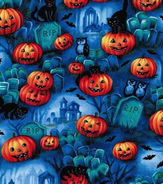 Holiday Inspirations Fabric-Graveyard Scenic