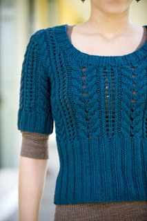 """Finished Size 30 (34½, 39, 43½, 48, 53)"""" bust circumference. Sweater shown measures 34½"""", modeled with about ½"""" positive ease."""