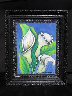 3 White Cala Lillies Oil Pastel  www.tanyadesigns.net
