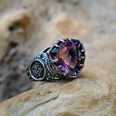 """Sterling Silver Amethyst Ring with 6 Emeralds """"Portal"""" MADE TO ORDER, antique amethyst engagement ring, triangle ring, celtic symbol ring by BlackTreeLab on Etsy"""