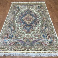 amazoncom 5ftx8ft traditional blue qume handmade silk carpets oriental living room persian rug area rugs area rug inexpensive area rugs 8 x 10 area