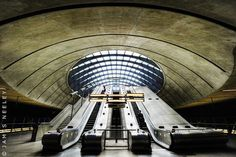 Sir Norman Foster's Canary Wharf Tube Station, London.  Photo by James Neeley on Flickr.
