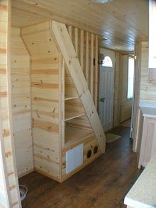 hergert rich the cabin man tiny house with built in stairs storage u0026 - Tiny House Storage Ideas