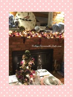 #Cottage Green on the Lake ... #lake #Cottage #Valentine's Day #tablescape #mantle