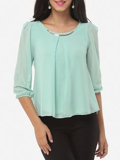 Plain Courtly Round Neck Blouses #Blouses, #Fashion, #Tops, #Womens