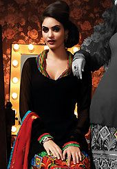 Take a look on the changing fashion of the season. The dazzling black georgette churidar suit have amazing embroidery patch work is done with resham and gota patti work. Beautiful embroidery work on kameez is stunning. The entire ensemble makes an excellent wear. Matching santoon churidar and red chiffon dupatta is available with this suit. Slight Color variations are possible due to differing screen and photograph resolutions.