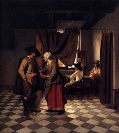 pieter de hooch paintings | Paying the Hostess