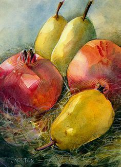 """Pomegranate and Pears"" - Jen Norton, watercolor {still life fruit painting}"