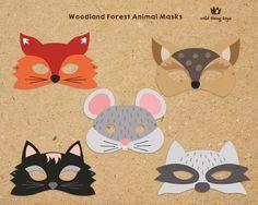 Bosque bosque animales máscaras para imprimir por wildthingtoys