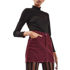 Women's Topshop High Rise Corduroy Miniskirt (17.665 HUF) ❤ liked on Polyvore featuring skirts, mini skirts, burgundy, high waisted short skirts, high waisted mini skirt, burgundy skirt, high-waisted skirts and corduroy skirt