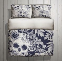 Skull Bedding Blue Print Mega Print with Large by InkandRags Blue Bedding, Bedding Sets, Home Bedroom, Bedroom Decor, Bedroom Ideas, Bedrooms, Skull Bedroom, Gothic Bedroom, Skull Decor