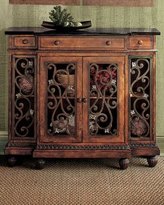 Nice size entry table with a Tuscan flair. Tuscan Furniture, Wood Furniture, Accent Furniture, Antique Furniture, Furniture Ideas, Modern Furniture, Outdoor Furniture, Style Toscan, Showcase Cabinet