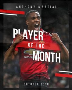 ANTHONY MARTIAL-#MUFC player of the month!!!❤😍👊 Football Awards, Anthony Martial, Manchester United Football, Soccer, The Unit, Banks, Weapons, Bucket, River