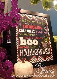 FREE Halloween Chevron Subway Art and Halloween mantle ideas