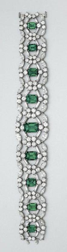 Emerald and diamond bracelet, Cartier