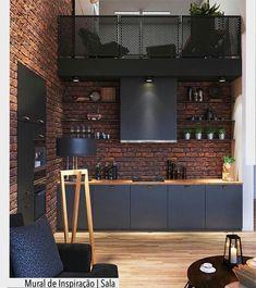 A combinação da parede em tijolinho com o piso em madeira resultou em um ambiente com uma pegada mais masculina. Ad Pinterest/ arqdecoracao @arquiteturadecoracao @acstudio.arquitetura #arquiteturadecoracao #olioliteam #instagrambrasil #decor #arquitetura #adcozinha #cozinha