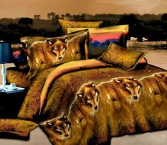 Bedding Quilt Doona Duvet Cover Bed Sheet Pillowcase Set - Wolf Pack New Des-