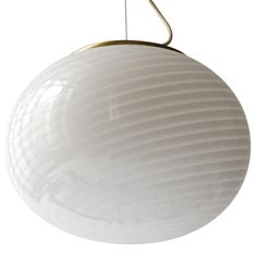 Venini Murano White Swirl Glass and Brass Pendant  Italy  1950's  This beautiful and unusual large Venini Murano Pendant will give a great airy quality to any space. One socket up to 100 watts.   http://www.1stdibs.com/furniture_item_detail.php?id=607397