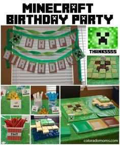 minecraft party ideas - decorations, cake, snacks, links to other sites for same 10th Birthday Parties, Birthday Fun, Birthday Party Themes, Birthday Ideas, Minecraft Party, Lego Minecraft, Minecraft Decorations, Minecraft Crafts, Minecraft Stuff