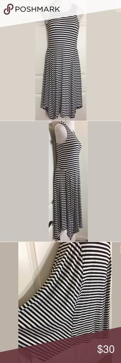 "APT 9 Striped Sleeveless Shark Bite Hem Maxi Dress Comfortable black and white striped, stretchy maxi dress. Perfect for summer! Bust: 34""; Length in the back from the shoulder: 43"" at the shortest point and 47"" at the longest. Smoke free home. Thanks for shopping my closet!   Apt. 9 Dresses Maxi"