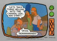 1990 Topps The Simpsons #77 Let's take turns yelling into the canyon, Lis Front