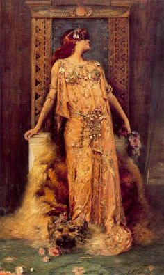 Sarah Bernhardt (1844-1923) in the role of Cleopatra Georges Jules Victor Clairin Egyptian motif jewelry with Turquoise set in Silver for the role, fueling a Revival of Egyptian styled jewelry. 1895