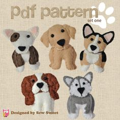 cute plush Dogs sewing patterns set One  pdf PATTERN by sewsweetuk
